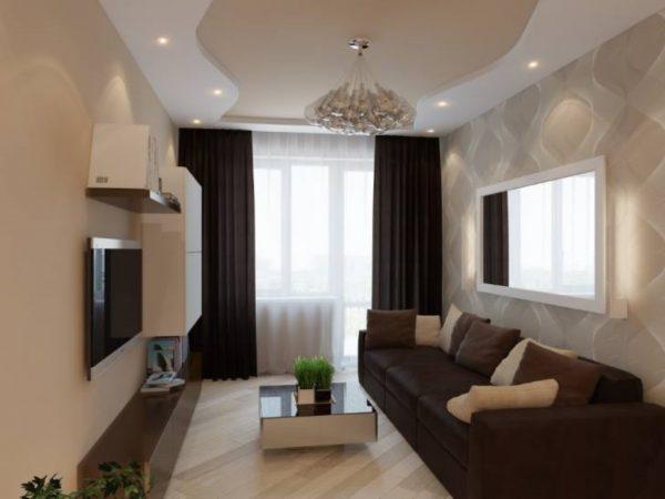 Ламинат, уложенный по диагонали в гостиной