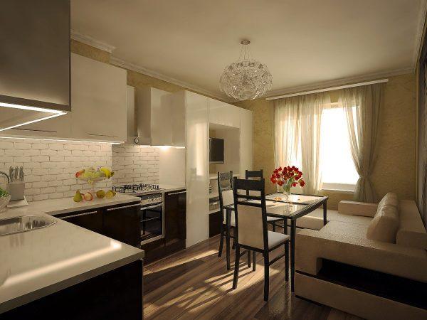 Дизайн кухни гостиной 15 кв м с зонированием
