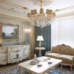 Классический дизайн гостиной в голубых тонах
