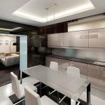 Дизайн кухни гостиной в стиле хайтек
