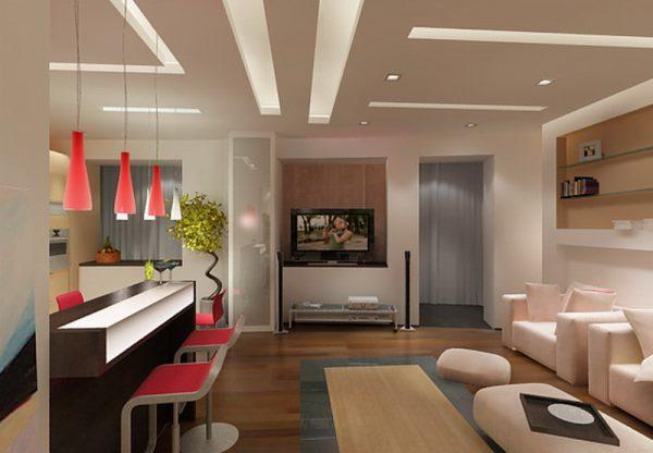 Зонирование кухни совмещенной с гостиной.