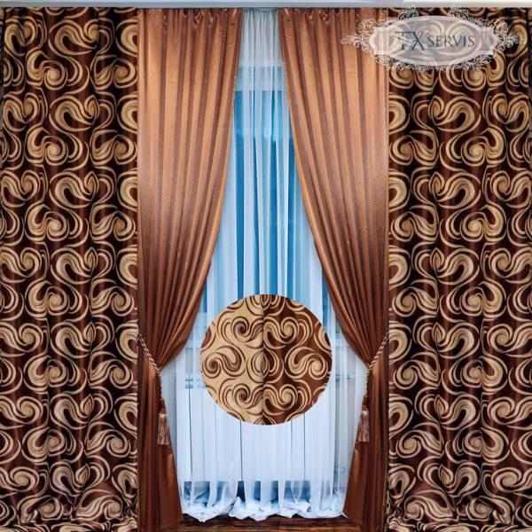 Сочетание двух видов тканей для пошива штор: однотонной и с рисунком