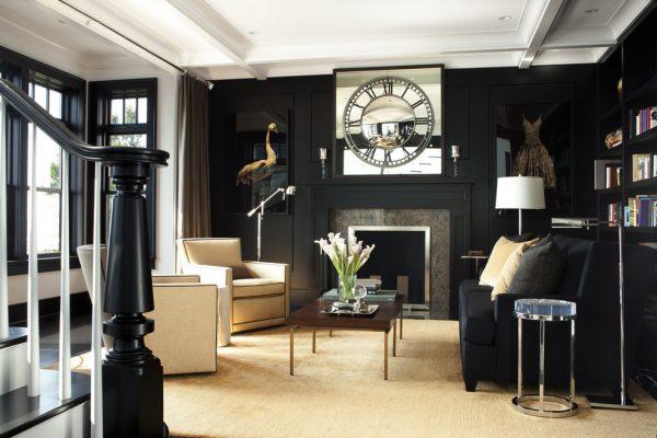 Дизайн гостиной с камином в загородном доме