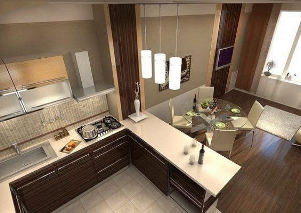 Дизайны кухни и гостиной