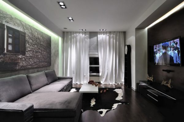 Серый цвет в интерьере современной гостиной