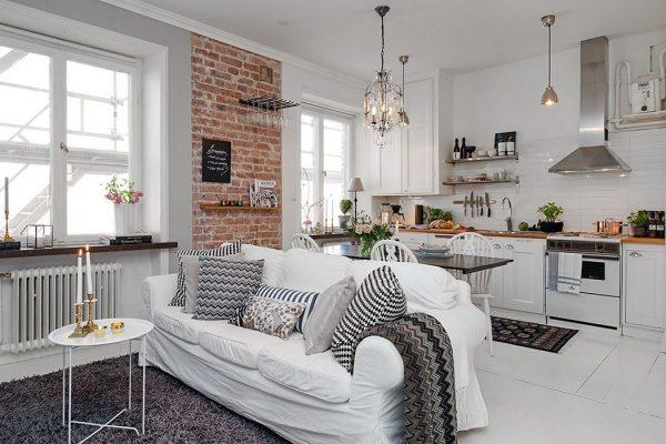 Интерьер в скандинавском стиле: гостиная кухня