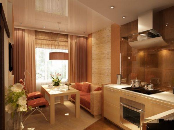Зонирование помещения цветом и различными материалами