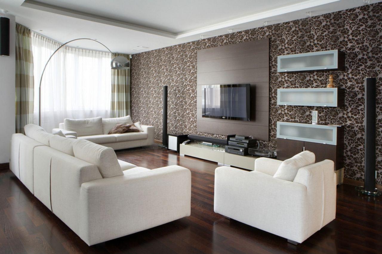 обои коричневые в гостиной фото