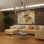 Картина в современном стиле над диваном