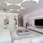 Оригинальная идея для освещения в белой гостиной