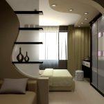 Шкаф купе в интерьере гостиной спальни