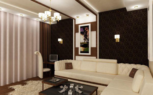 Белая мебель в гостиной в коричневых тонах
