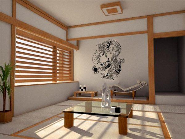 Стеклянная столешница в японском интерьере