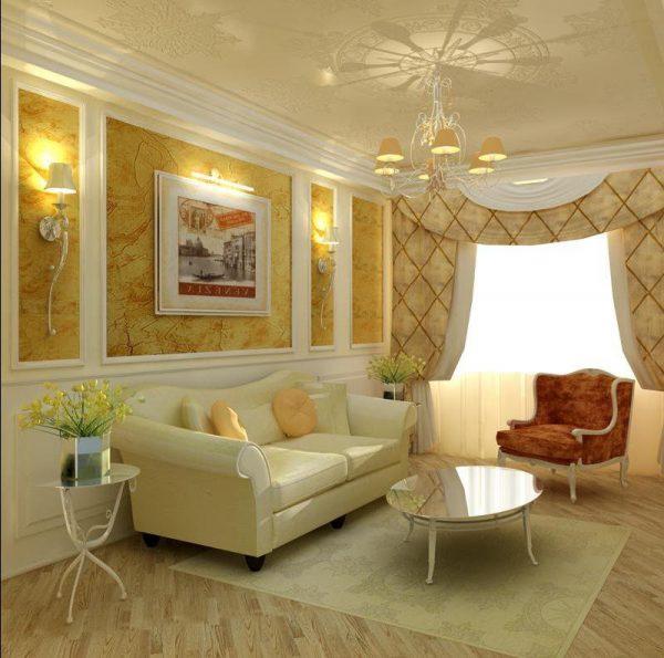 Классический стиль дизайна гостиной