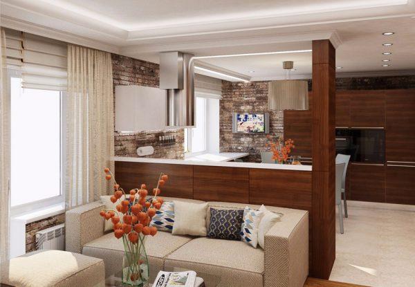 Зонирование кухни гостиной с помощью различных материалов отделки