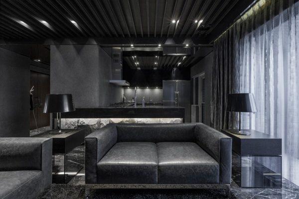 Стильная гостиная в темных тонах