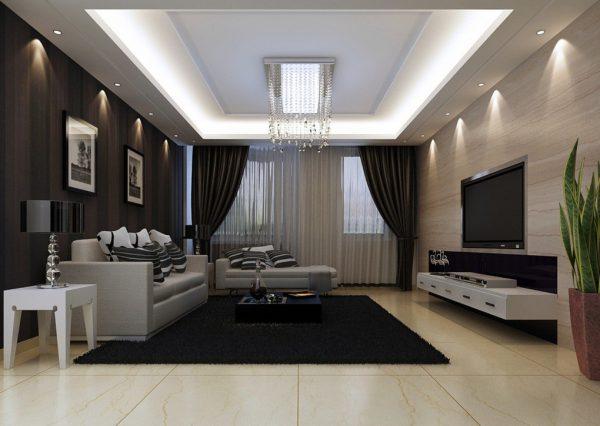 Использование нескольких оттенков черного в интерьере гостиной