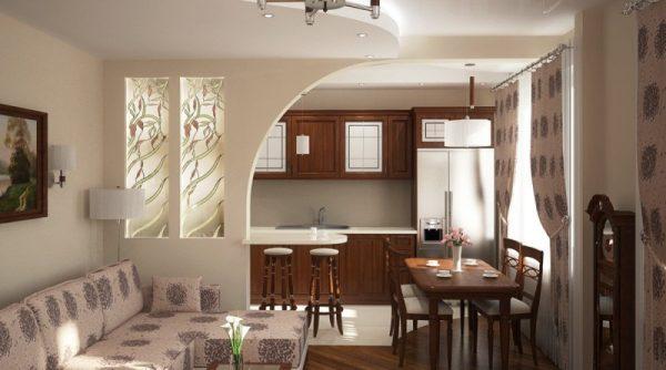 Дизайн совмещенных гостиной и кухни