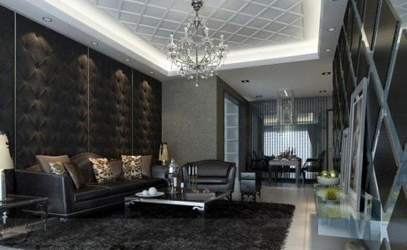 Черно-серый дизайн гостиной