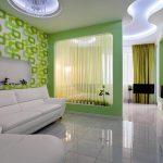Спальня гостиная в зеленых тонах