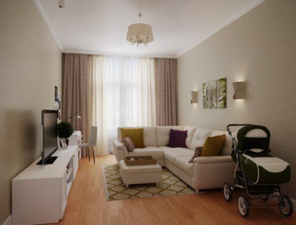 Дизайн гостиной спальни 15 м