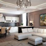 Гостиная совмещенная с кухней. Современный стиль