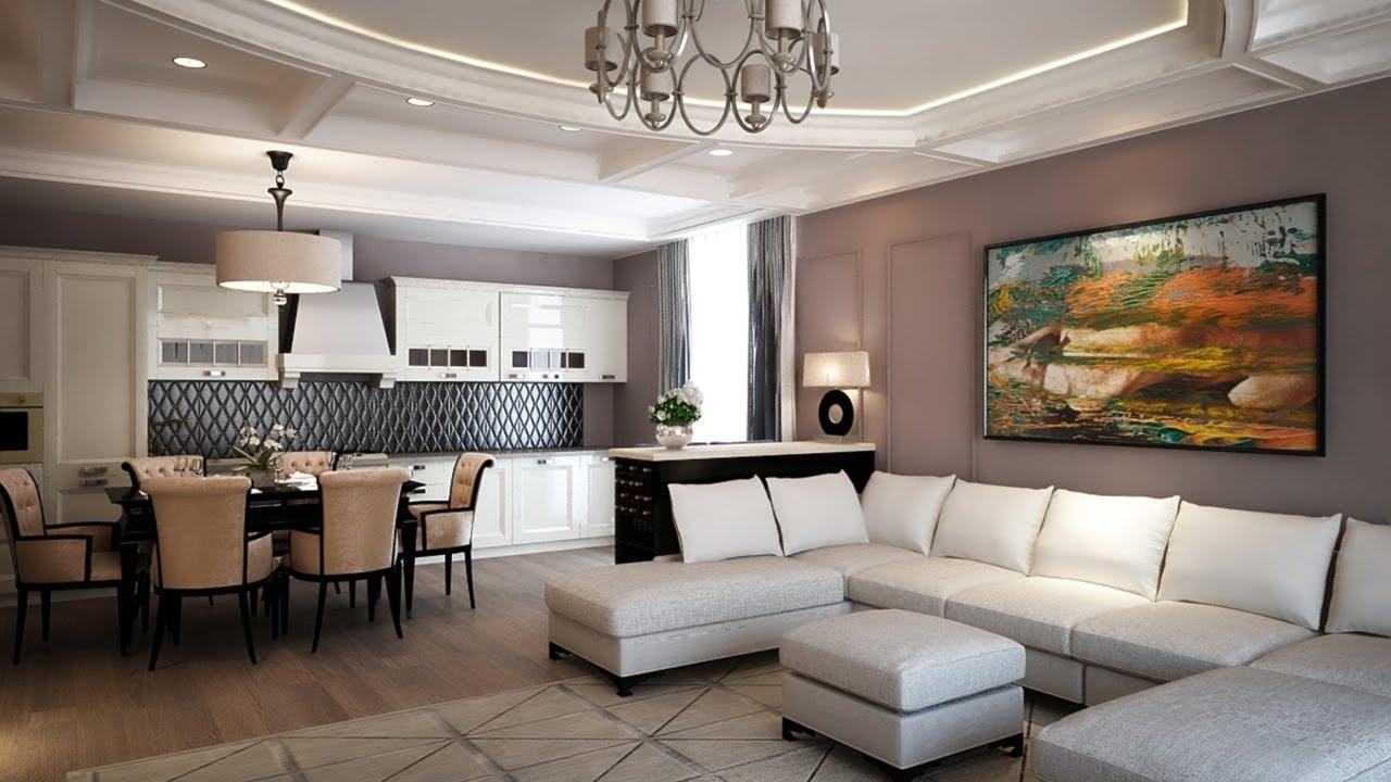 Дизайн современной гостиной с кухней