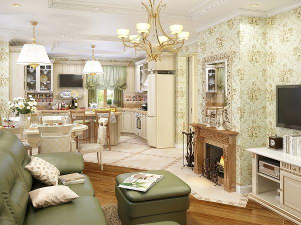 Кухня гостиная в оливковых тонах