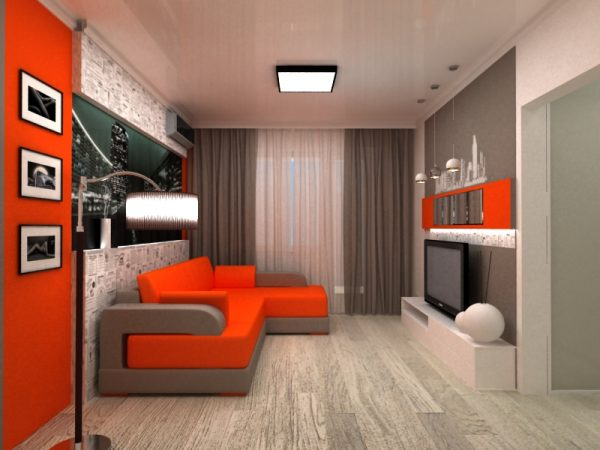 Красный цвет в дизайне маленькой гостиной