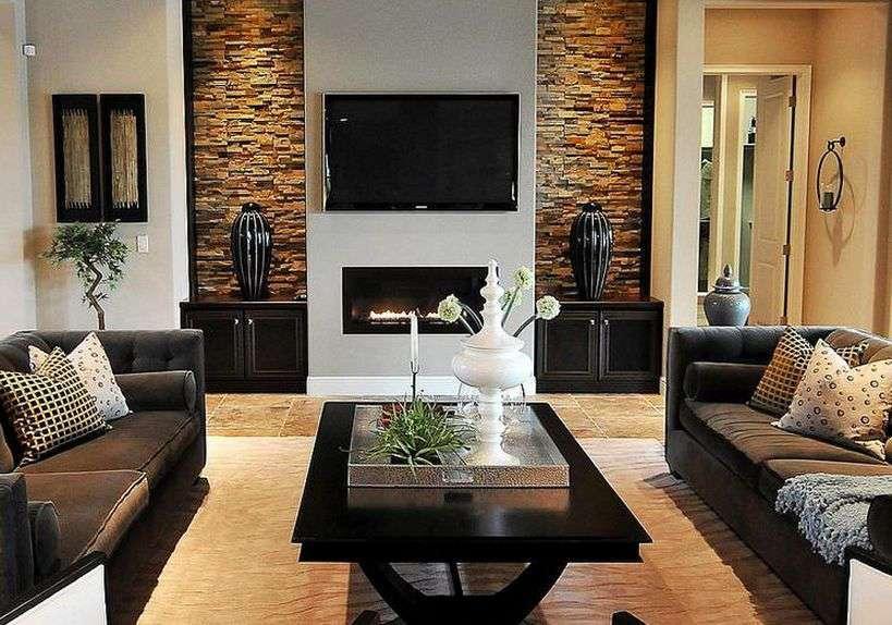Современный дизайн гостиной комнаты с камином