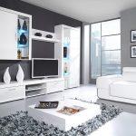 Сочетание белой гостиной с серой палитрой