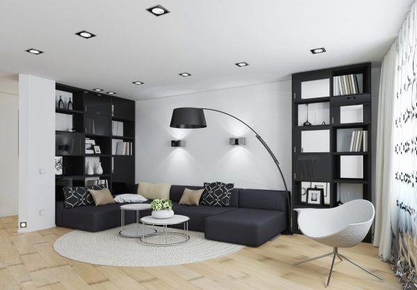 Сочетание черного цвета в гостиной с белыми элементами