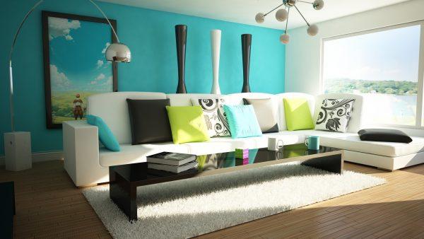 Яркий цветной интерьер гостиной