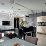 Черный цвет в современном интерьере кухни гостиной