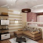 Использование обоев с разным рисунком и фактуров в спальне гостиной