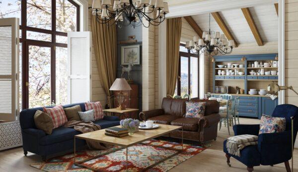 Сочетание цвета в гостиной кантри