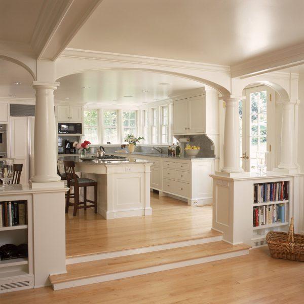 Дизайн арки между кухней и гостиной фото