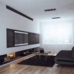 Минималистский дизайн гостиной в черно-белом цвете