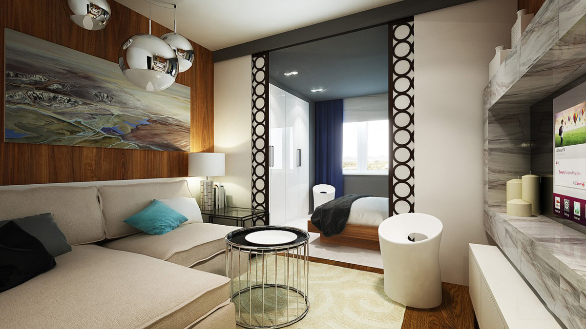 Организация гостиной-спальни при помощи разделения комнаты н.