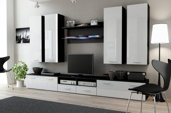 Белая корпусная мебель с черной отделкой