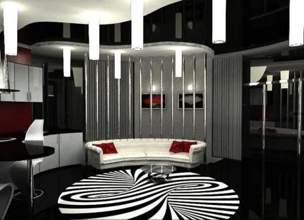 Черно-белый потолок в дизайне