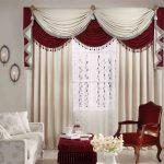 Бело0красные шторы в гостиной