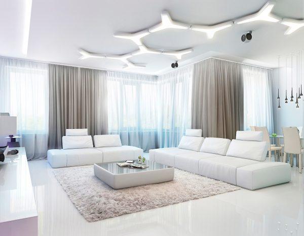 Современный интерьер белоснежной гостиной