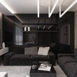 Черная гостиная в классическом стиле
