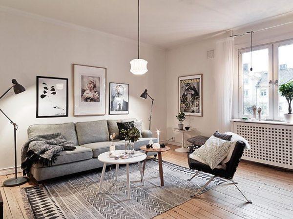 Освещение гостиной в скандинавском стиле