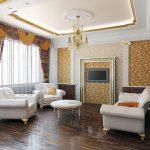 Потолок с лепниной в классическом интерьере гостиной