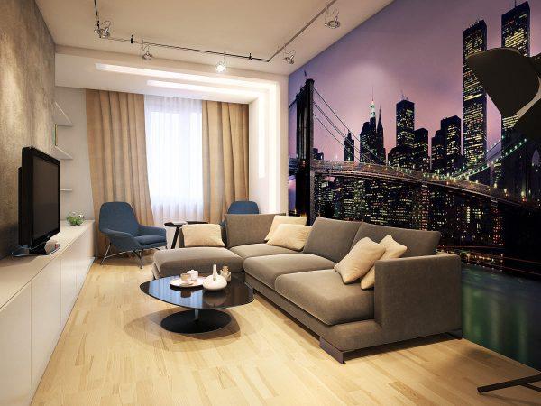 Фотообои с видом ночного города в интерьере гостиной