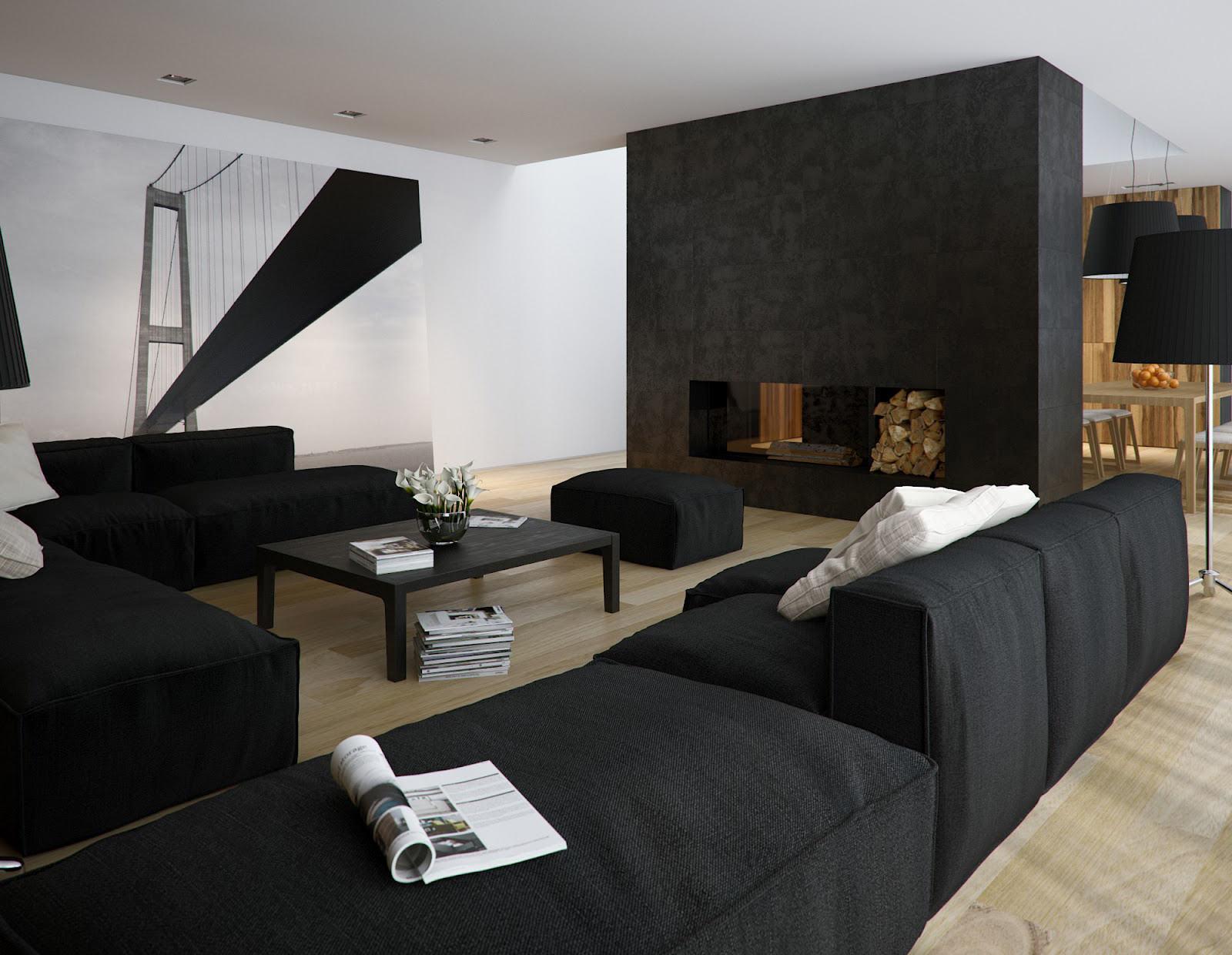 20 современных интерьеров гостиной в чёрно-белых тонах