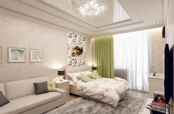 Совмещения зон в дизайне спальни гостиной