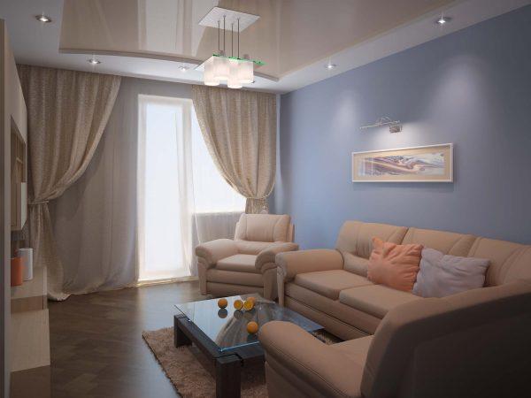 Натяжной потолок в маленькой гостиной